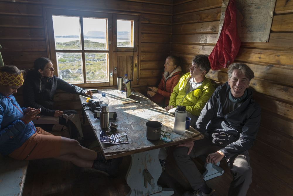 First lunchbreak in a sheltered hut